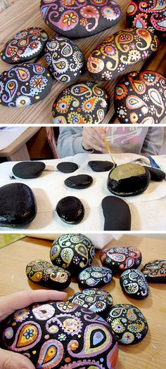 Painted Paisley Stones | DIY Home Decor Ideas on a Budget | DIY Projects for the Home Dollar Store