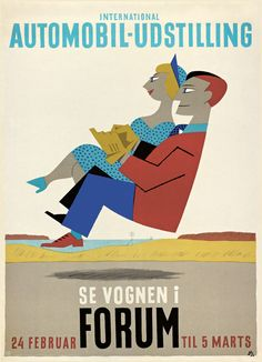 International Automobile Show 'Se vognen i Forum' (1950) - Danish artist Arne Ungermann (1902-1981)