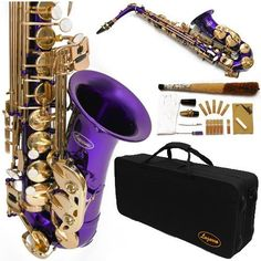 360-PR - PURPLE/Gold Alto Saxophone Lazarro+12 Reeds,Music Pocketbook,Pro Case and Care Kit - 12 COLORS Available ! CLICK on LISTING to SEE All Colors by Lazarro, http://www.amazon.com/dp/B004O9XPXC/ref=cm_sw_r_pi_dp_Txrkqb12Y5G9R