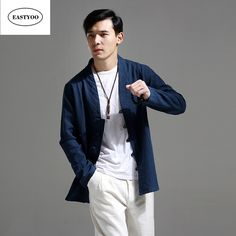 Blue Linen Jacket Men Autumn 2017 Long Sleeve Button Jackets Standard Collar Chinese Style Clothing Men Tops Loose Casual Jacket #Affiliate