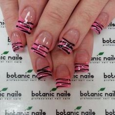 Botanic nails pink and black print Zebra Stripe Nails, Zebra Print Nails, Nail Art Stripes, Zebra Nail Designs, Acrylic Nail Designs, Acrylic Nails, French Manicure Nails, French Nails, Gorgeous Nails