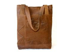 Upcycled Leather Tote Handbag in Brown