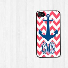 Personalized iPhone 4 Case, iPhone 5 Case, Nautical Navy Blue Anchor Coral Chevron Monogram Cell Phone Cover, Plastic Phone Case (155). $16.00, via Etsy.