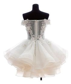 Chic Sexy Homecoming Dress Ivory Appliques Organza Short Prom Dress Party Dress JK389