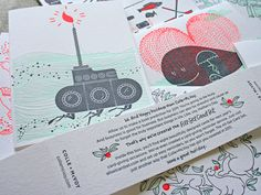 Letterpressed cards.