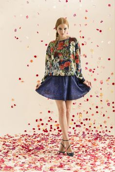 Love this pretty floral top and flowy skirt from Alice + Olivia Resort 2014