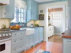 mobile home decor ideas   20 Ideas for Kitchen Decorating with Light Blue Color – No. 16