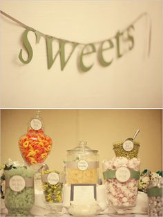 Joyful Weddings Candy Table - Love the little details stickers on the glass!
