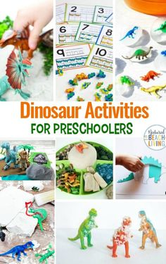 These Dinosaur Activities are perfect for a Dinosaur Preschool Theme. The wide variety of activities and opportunities for imaginative play are sure to help your children have a ball. Be sure to check out these Dinosaur Preschool Activities! Playdough Activities, Preschool Learning Activities, Preschool Lesson Plans, Preschool Science, Science Experiments Kids, Toddler Activities, Teach Preschool, Teaching Ideas, Dinosaur Books For Kids