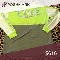 ISO lime green bling crew S In search of lime green bling crew S PINK Victoria's Secret Tops Tees - Long Sleeve