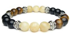ADDICTION RECOVERY 8mm Crystal Intention Stretch Bead Bracelet w/Description Card -Calcite, Black Onyx, & Tiger's Eye