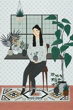 Atemberaubende Die Illustrationen von Lush Plant Lady sind zeitgemäß #illustrationen #plant #zeitgema
