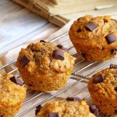 Sugar Free Whole Wheat Chocolate Chunk Pumpkin Muffins