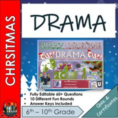 End of Term Drama and Performing Arts Christmas Quiz 2019 - 60+ Questions in 10 varied topic question rounds. Suitable for Middle School and High School StudentsComplete with falling snow and the pulling of crackers! Every round is completely different and not just your boring Q and A style but inst... Emoji Christmas, Christmas Quiz, Drama Activities, Types Of Learners, End Of Term, Performing Arts, High School Students, Crackers, Teaching Resources