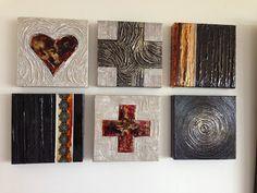Mixed media on canvas Pink Art, Mixed Media Canvas, Crosses, Minis, Art Work, Bookends, Hearts, Decor, Artwork
