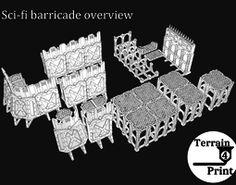 Sci-fi barricade 3D printable model 3d Printable Models, 3d Printing, Sci Fi, Printables, Toys, Prints, Impression 3d, Activity Toys, Science Fiction