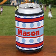 Personalized Blue Polka Dots and Stripes Can Koozie #July4thKoozie