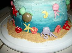 Under the Sea Cake - with a berry blue jello filling