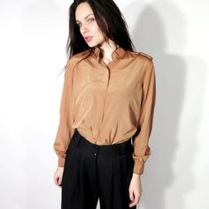 Vintage Brown Polyester High Neck Epaulet Button Down Blouse  by Ramaci