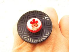 Flower Ring Ice Cream Miniature Food Ring Red by SouZouCreations