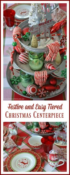 An easy and festive centerpiece with a galvanized 3 tier stand, layered with rock salt, candy canes, ornaments and bottle brush trees in green Ball jars and Pfaltzgraff Dancing Snowflakes | homeiswheretheboatis.net