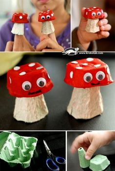 Egg Carton Mushrooms - while there is no link with instructions as these photos were uploaded by user, these cute little mushrooms look easy enough to create by the photos.