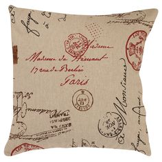 French Postale Throw Pillow