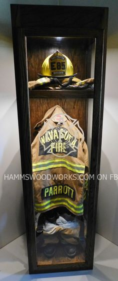 Firefighter Turnout Gear Memorial Case Shared by LION Firefighter Paramedic, Firefighter Decor, Volunteer Firefighter, Firefighter Helmet Light, Firefighter Clipart, American Firefighter, Firefighter Wedding, Fire Dept, Fire Department