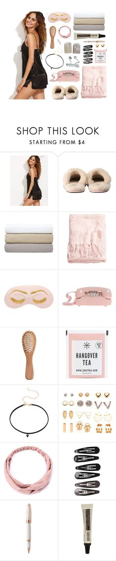 """rose ➖"" by fire-and-daisies ❤ liked on Polyvore featuring UGG Australia, Yves Delorme, H&M, The Unbranded Brand, Clips, Montegrappa, Aesop and kikitags"