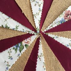 Top quality 12oz Hessian/Burlap flags together with a pretty floral fabric mixed with a beautiful rich Burgundy gives this bunting a rustic vintage chic, perfect for Weddings / Fetes / Garden parties and Marquees. * Unique affordable single-sided fabric bunting. Hessian flags are