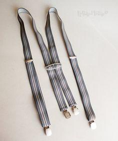 Vintage Grey & Burgundy Striped Skinny Clip On Braces Suspenders by…