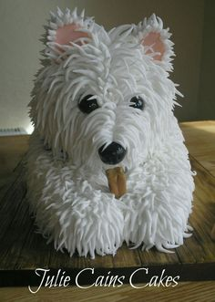 Westie Cake by Julie Cains Cakes I want this cake from Kirby Joe! Westie Cake by Julie Cains Cakes I want this cake from Kirby Joe! Fancy Cakes, Cute Cakes, Puppy Dog Cakes, Realistic Cakes, Dog Cake Topper, Cake Shapes, Sculpted Cakes, Animal Cakes, Character Cakes