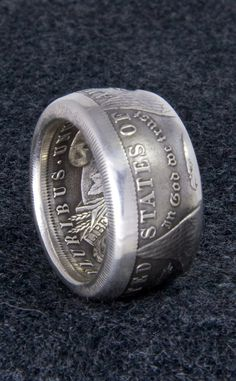1921 90% Silver Morgan Dollar Double Sided Coin Ring Sizes 10-22 Half Unique Gift Men's Large 3D Coin Ring Wedding Band 12mm Wide