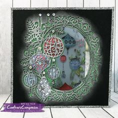 Card made using Crafter's Companion Die'sire Christmas Create a Card – Beautiful Baubles die. Designed by Linda Fitzsimmons #crafterscompanion
