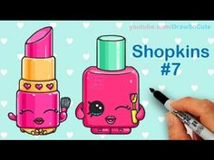 How to Draw Shopkins Lippy Lips and Polly Polish step by step Cute - YouTube
