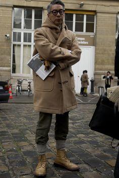 socks tucked into pants and hooded jacket...attitude...