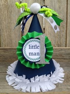 """Preppy """"Little Man"""" Party Hat. $13.50, via Etsy. This would be cute in top hat form."""