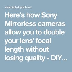 Here's how Sony Mirrorless cameras allow you to double your lens' focal length without losing quality - DIY Photography