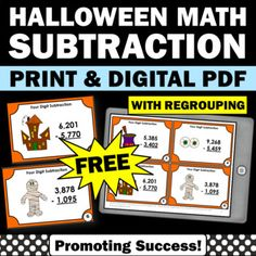 FREE Halloween Math Activities 4 Digit Subtraction with Regrouping Task Cards Math Subtraction, Halloween Math, Formative Assessment, Test Prep, 5th Grades, Task Cards, Math Activities, Student, Digital