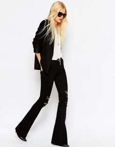 Image 4 of ASOS Bell Flare Jeans In Clean Black With Thigh Rips Black jeans are a must have!