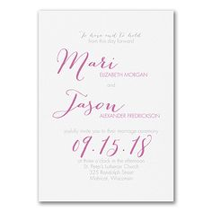 Your type - and your style! Your names and wedding date are big and bold on this typography wedding invitation of double-thick, white paper to get guests' attention. Choose the options that show your style.