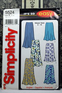 Size 8 10 12 14 16 18 Easy SImplicity 5524 Skirt Skirts Pleat Flounce Womens…