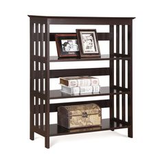 4 Tier Espresso Wood Bookshelf Bookcase Display Cabinet   Overstock.com Shopping - Great Deals on Media/Bookshelves