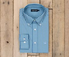 Memphis Gingham Dress Shirt - Slate and Mint