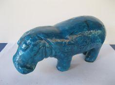 Blue Hippopotamus Statuette Art Pottery by GotMilkGlassAndMore, $27.95
