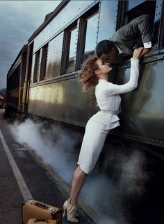 Why not. A romantic train station scene shoot. Natalia Vodianova for Vogue, February 2010. Photographed by Annie Leibovitz