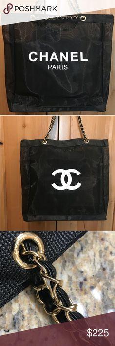 87a262be57d3 Chanel Paris CC VIP Black Mesh Tote W Gold Chain Brand new Chanel Paris CC