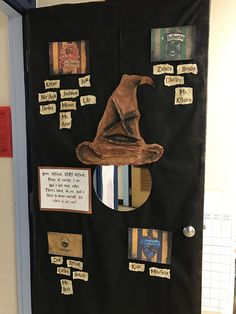 Harry Potter classroom door! Sorting Hat made from paper + painted!