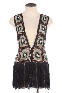 Granny Square VTG Style Crochet Knit Vest Top Sleeveless Fringe Navy Blue NEW S