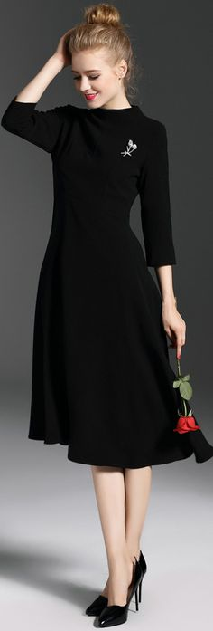 Black Pleated Dress With Brooch